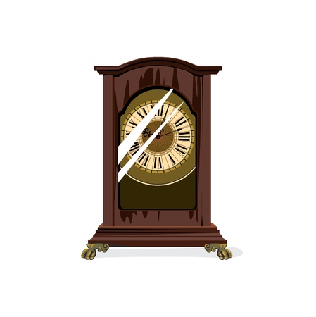 glass reflection: brown retro clocks and glass with reflection Illustration