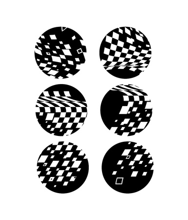 rounds: abstract six circles in black and white colors