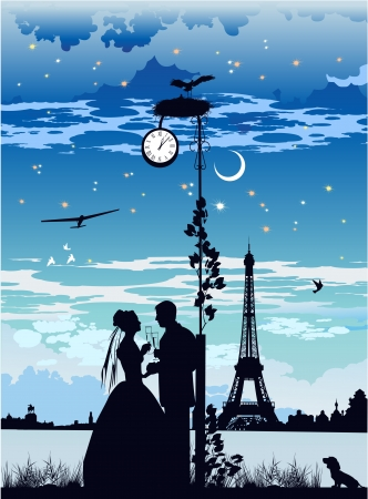 black stork: The bride and groom on the background of the Eiffel Tower Illustration