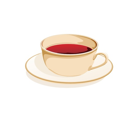 kitchen studio: cup of tea on a saucer on a white background