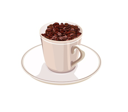 coffee sack: cup with coffee beans on a saucer on a white background