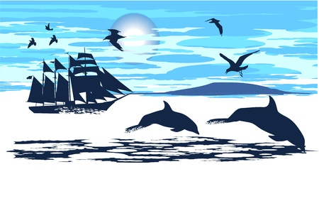 escorted: Dolphins in the open sea escorted the ship  Illustration