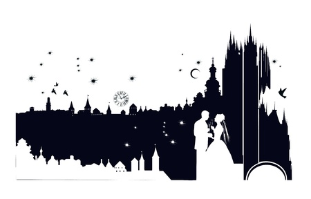 wedding couple silhouette: The bride and groom on the backdrop of the castle Illustration