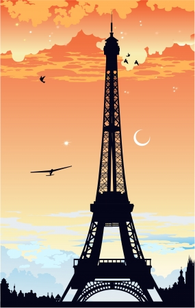 Eiffel Tower at sunset Vector