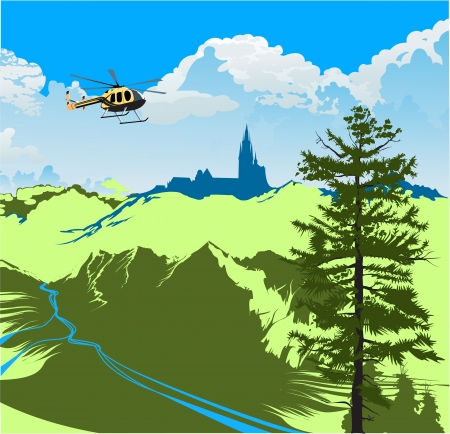 helicopter flying over the green valley with a river Vector