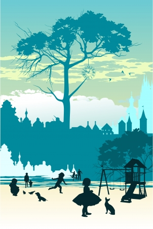 Children play on the playground in kindergarten in the city Vector