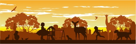 yellow roof: children play with the animals on the playground Illustration