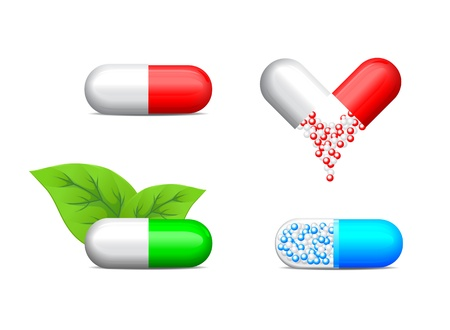 depressant: icon of four health pills over white background Illustration