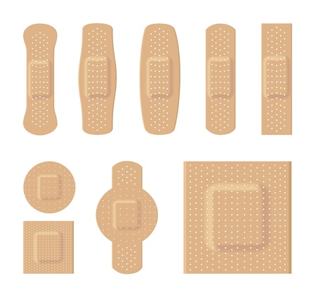 Bandages various sizes body color on a white background Illustration