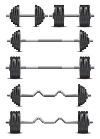chrome dumbbells with a weight of black on a white background Vector