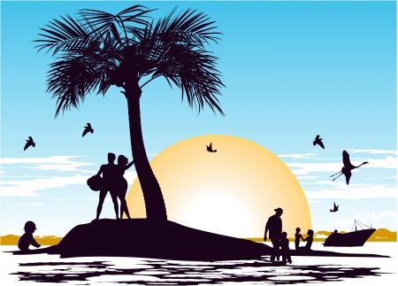 Early morning on the paradise island in the ocean Stock Vector - 13921002