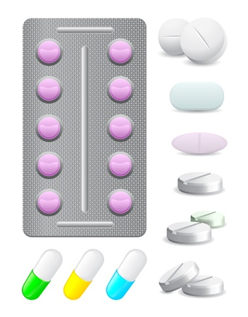 icons pack pills and tablets of different sizes Stock Vector - 13922098