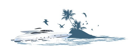 speed boat: speedboat crashing waves rushing on the background of of the island Illustration