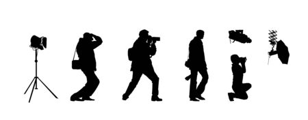 silhouette of the photographer that makes shooting in black and white colors Stock Vector - 13920160