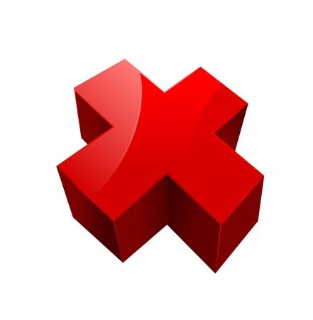 cruz roja: cruzar sobre un fondo blanco