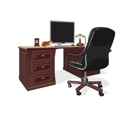 computer chair: retro brown table with a computer and a black chair Illustration
