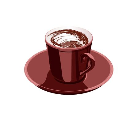 scarlet cup of coffee on a white background Stock Vector - 13919714