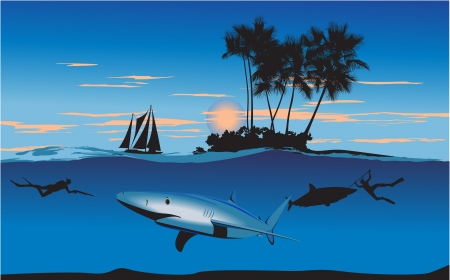 hunters: Underwater hunters sharks near the island at night