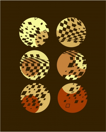 laps: six laps with a shade of brown diamonds Illustration