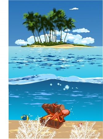 Caribbean sea: island in the open sea and the treasure chest with an octopus on it Illustration