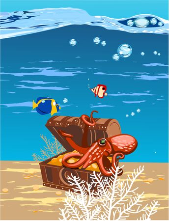 open sea: Octopus in the sea in a chest of treasure