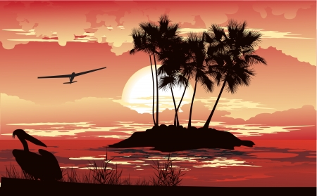 panoramic beach: Tropical sunset on the distant island Illustration