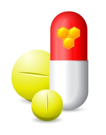 antidepressant: three pills and honeycomb images on one of them