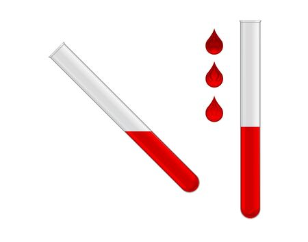 two test tubes with red liquid on white background Stock Vector - 13920294
