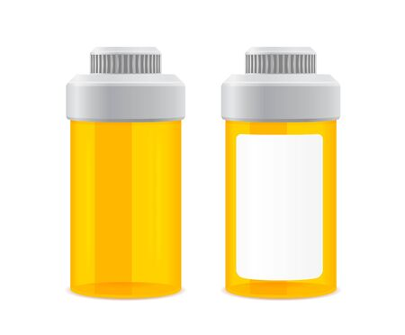 blue pills: two yellow empty cans on a white background Illustration