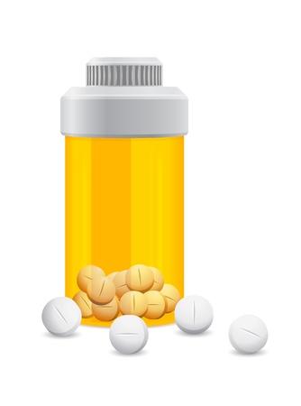 veneno frasco: frasco de color amarillo con las pastillas de color blanco en el sobre un fondo blanco