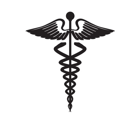 abstract black caduceus sign