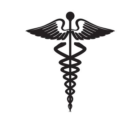 doctor symbol: abstract black caduceus sign
