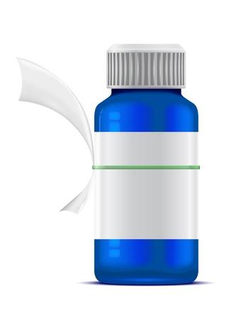 veneno frasco: botella azul de la medicina y un pedazo de papel con un m�dico Vectores