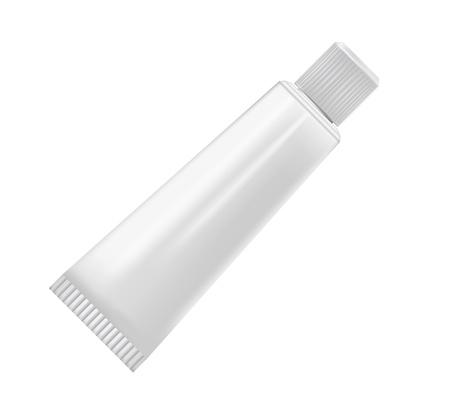 kunststoff rohr: Creme Rohr isoliert auf weißem Hintergrund