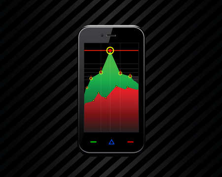 economic graph on the phone screen Vector