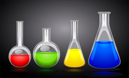 four flasks of different sizes with colored liquid on a black background