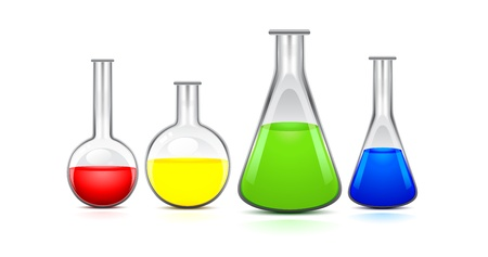 chemical reactions: four flasks of different sizes with colored liquid on a white background