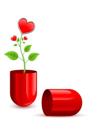 bosom: tallo verde que crece a partir de un trozo de la pastilla roja