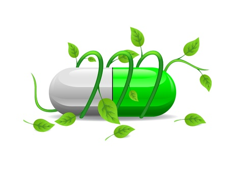 green stem twists icon green white pill Vector