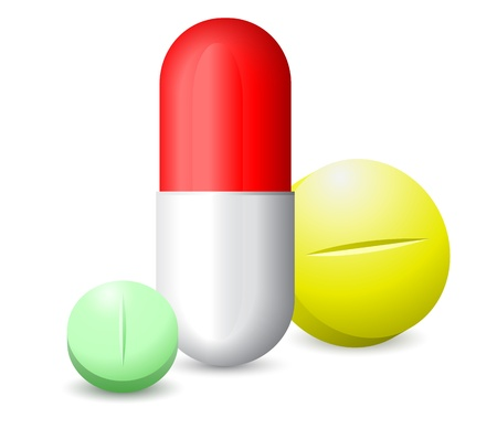 vitamins pills: icon green, red white and yellow tablets