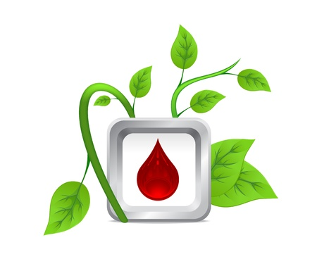 blood type: icon of drops of blood on the background of a green plant