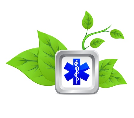 pharmaceutics: icon of medical caduceus symbol on a background of green plant