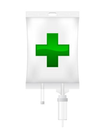 Icono del gotero intravenoso con una cruz sobre un fondo blanco Ilustración de vector