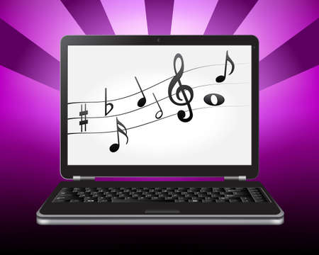 lyrics: laptop with notes on the screen
