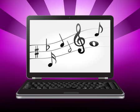 letras musicales: ordenador portátil con notas en la pantalla