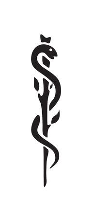 caduceo: M�dico s�mbolo del caduceo de serpiente con un palo Vectores