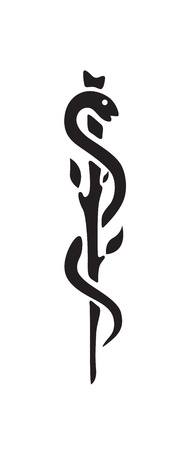 Medical symbol caduceus snake with stick Vector
