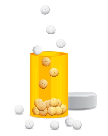open the yellow jar of pills Stock Vector - 13920674