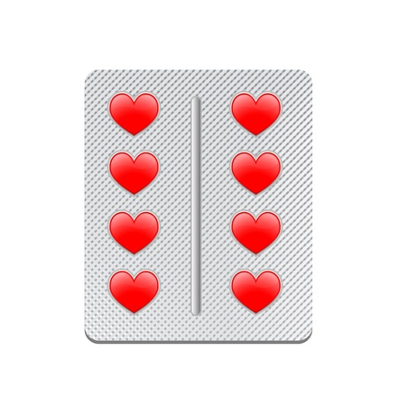 packaging of tablets in the form of red hearts Stock Vector - 13920436