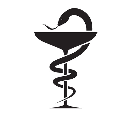 Pharmacy Icon with Caduceus Symbol Vector